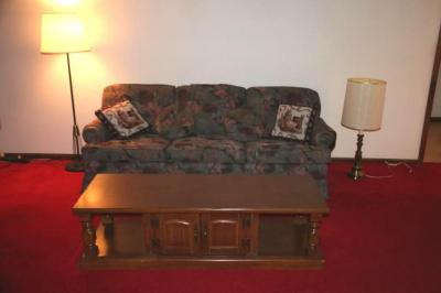 Justice couch, lamps and coffee table