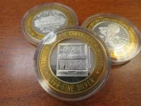 (3) .999 Fine Silver Collector Series casino tokens