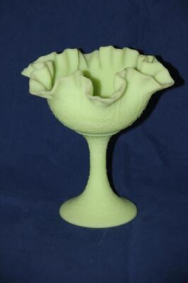Fenton Lime Green Satin Art Glass ruffled candy dish
