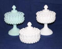 Fenton Opaque Turquoise Hobnail covered compote