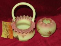Fenton applied handle basket and vase
