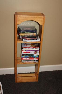 "Small wooden shelf, 33"" T x 11 1/2"" W x 6"" D"