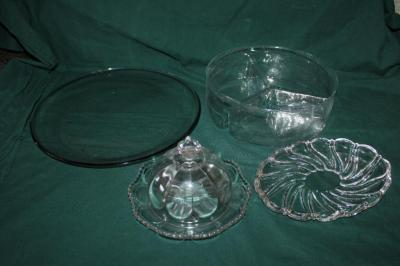 Covered butter dish, glass platter