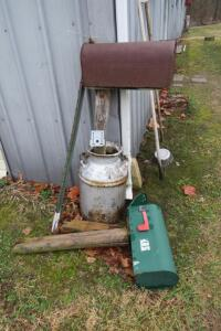 "Mailbox on post in milkcan, 22"" t"