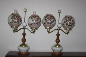 Pair of lamps with milk glass bases