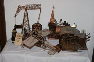 Metal music box and figurines