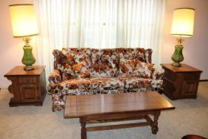 "Couch, 78"" L, chair, pair of lamps, 43"" T"