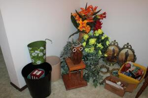 Candles, holders, artificial flowers