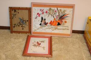 Silk embroidered picture, reverse painting on glass, etc.