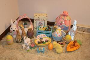 "Easter decorations, cookie jar, 11"" T"