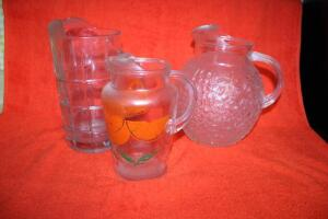 3 glass pitchers