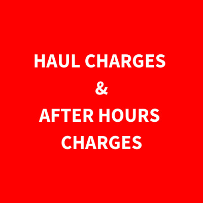 There Will Be A Required Minimum Haul Charge For Any Items That We Have To Haul Back To Our Office Because You Missed The Pick-Up Day . There Is Also A Required Minimum After Hours Charge For Meeting Our Staff After The Assigned Pick-Up Day To Pick-Up You