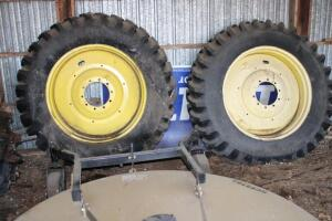 2 tractor duals, Firestone 480-80R42 tires on 10-hole wheels