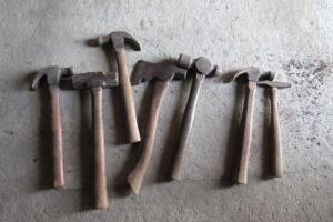 Wood handled hammers, claw, sledge