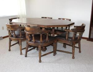 "Wooden dining table 68"" L including (2) 12"" leaves"