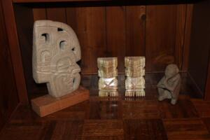 Marble bookends and other carved figurines