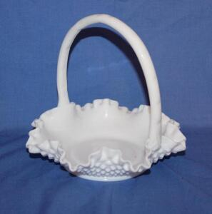 Milk Glass hobnail basket with applied handle