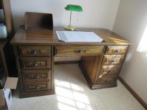 Wooden double pedestal desk