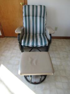 Patio rocking chair with ottoman