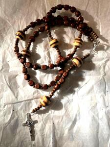 Dark Brown Wooden Rosary