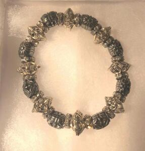 Decorative Silver Beaded Bracelet