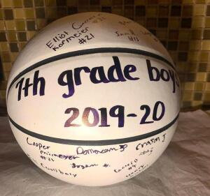 7th Grade Boys Signed Basketball