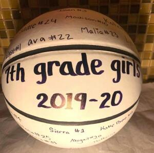 7th Grade Girls Signed Basketball