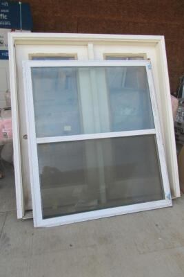 Double door and single hung window