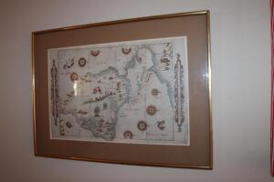 Framed and matted Spanish map