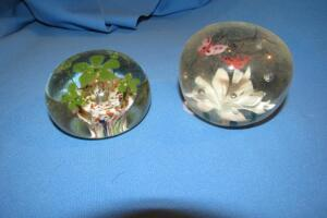 Pair of art glass paperweights