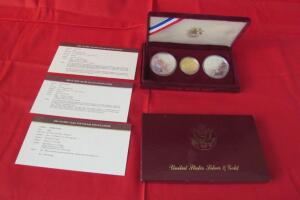 United States Silver & Gold 1984 Olympic coin mint set