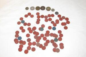 Assorted tax tokens and bus tokens