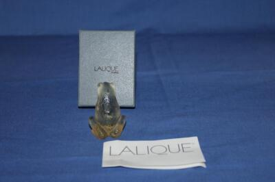 Lalique Cristal frog champagne figurine