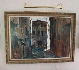 Venetian canal scene oil on canvas by S. Privato