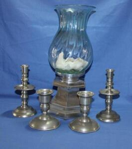 Pewter and other candle holders