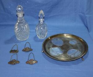 2 Crystal (?) decanters