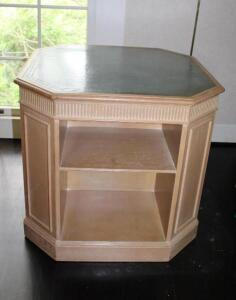 End table with leather inlay top