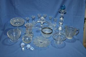 Pair of glass candelabras, compote, cruet and other assorted glass