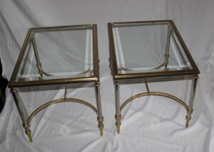 2 bevel glass top side tables