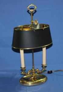 Brass desk lamp with metal shade