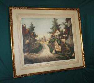 """The End Of The Village"" original etching signed by artist R. Barnnix"