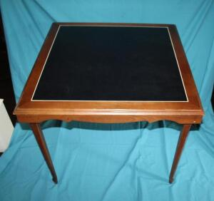 Leg-o-matic vintage card table with leather insert