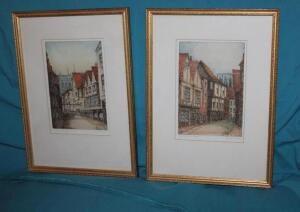 "2 framed and matted ""The Shamble York"" and ""Stonefali, York"""