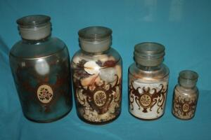 4 hand painted apothecary jars
