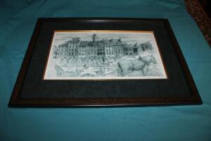 Framed and matted print, artist signed and numbered