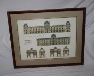 Framed and matted La cour Napoleon print