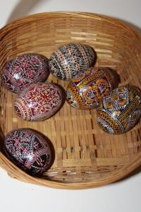 Basket with 6 hand painted wooden eggs
