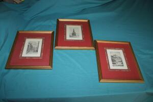 Trio of framed and matted artwork of Edinburough