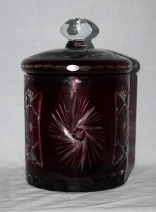 Red Bohemian biscuit jar