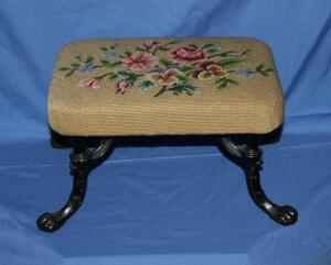 Chrisman & Son needlepoint foot stool